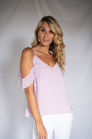 Easily Adored Cold Shoulder Top Lavender