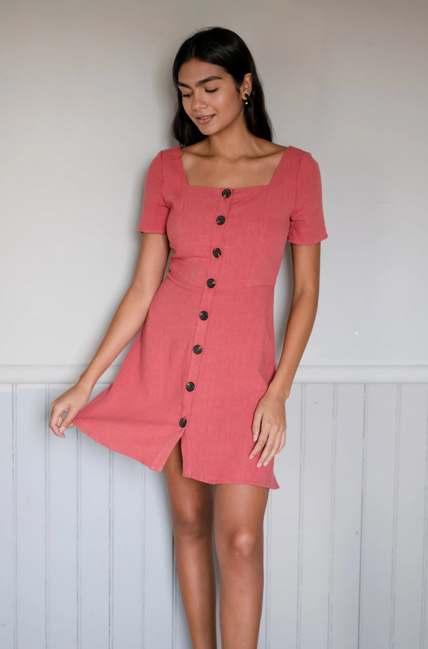 Valley Girl Dress Brick