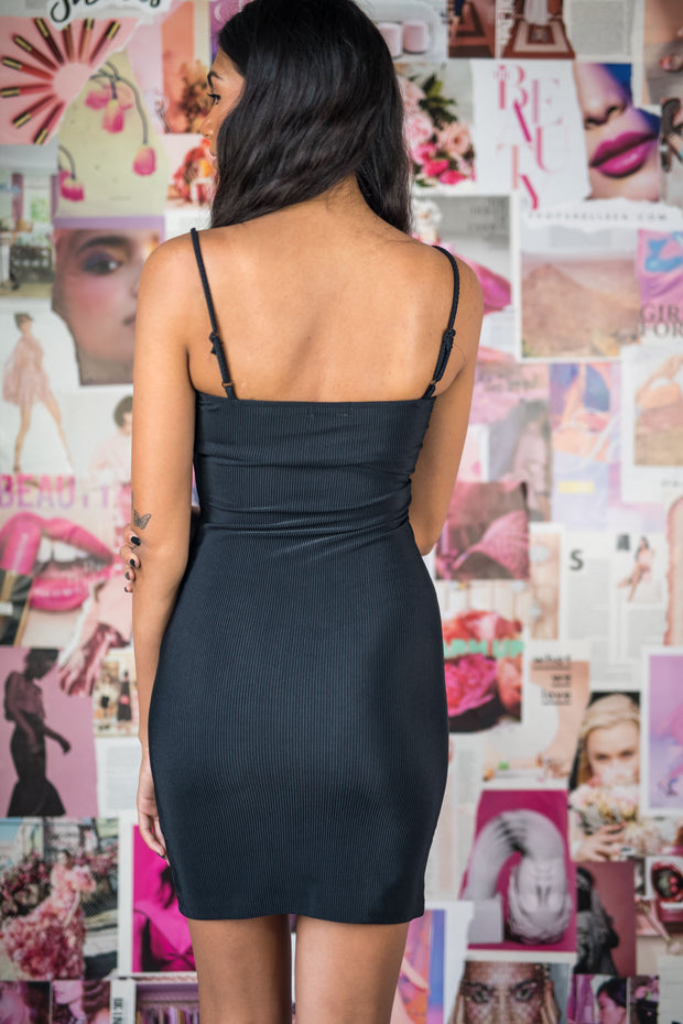 Call On Me Ribbed Bodycon Dress Black
