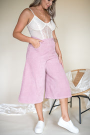 Golden Skies Corduroy Crop Pants Mauve
