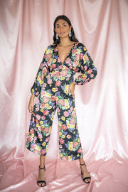 Retro Retreat Floral Jumpsuit Black