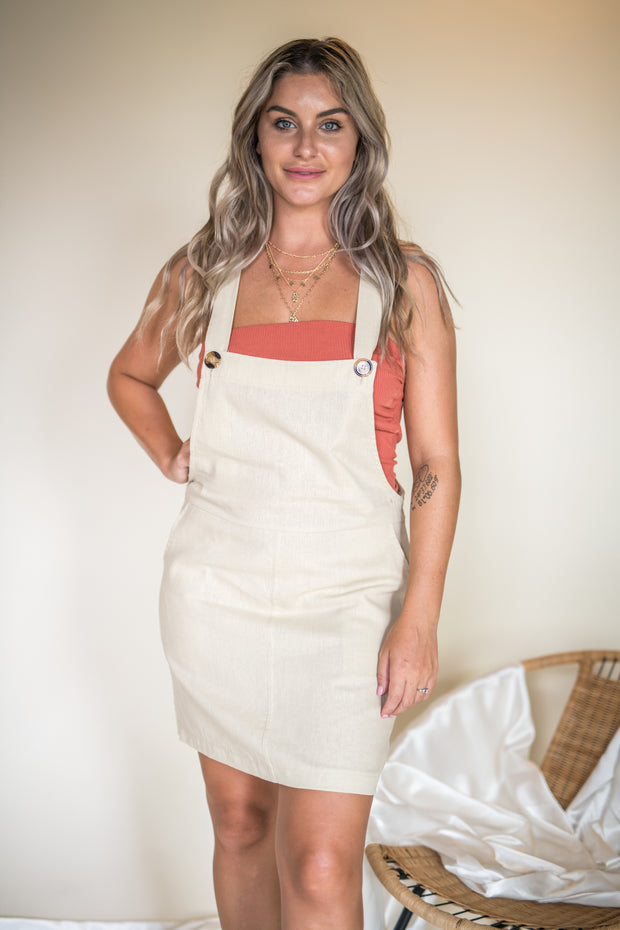 Want Your Love Overall Dress Beige