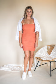 Call On Me Ribbed Bodycon Dress Terracotta