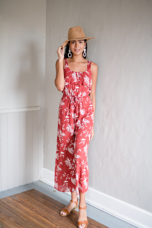 No Shade Floral Jumpsuit Rust