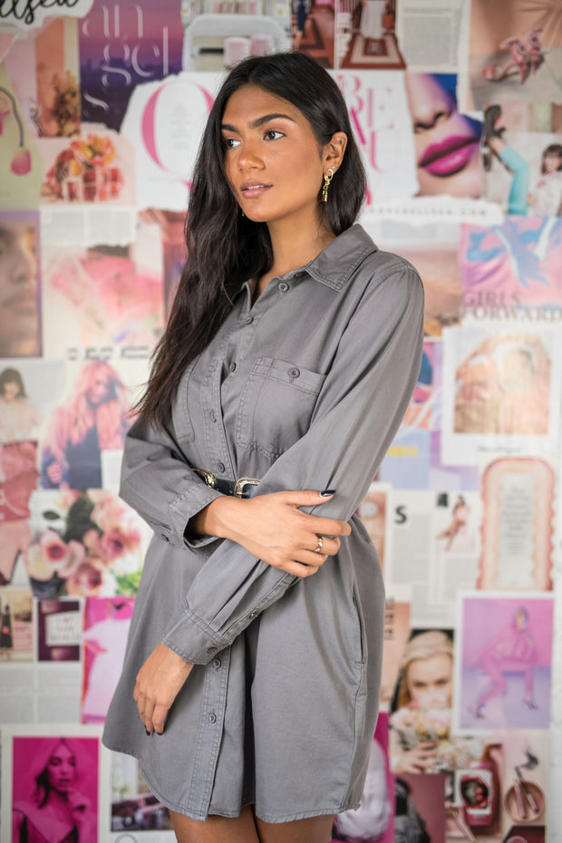 Little Thrills Button Down Tunic Charcoal