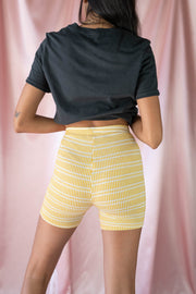 Stuck in the Past Biker Shorts Yellow