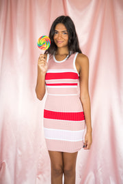 Done Deal Striped Bodycon Dress Pink