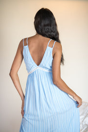 Fall In Line Striped Maxi Dress Blue