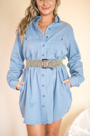 Little Thrills Button Down Tunic Denim