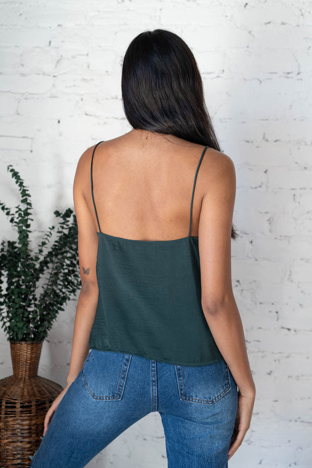 Kind Hearted Silk Tank Top Green