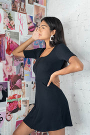 Roaming Free Ribbed Skater Dress Black