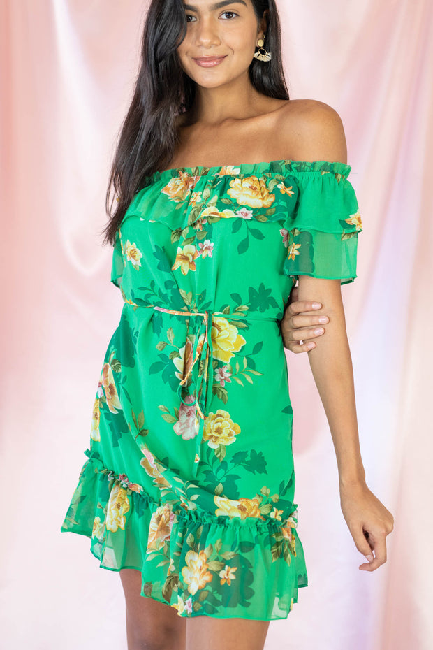 Summer Heyday Floral Off The Shoulder Dress Green