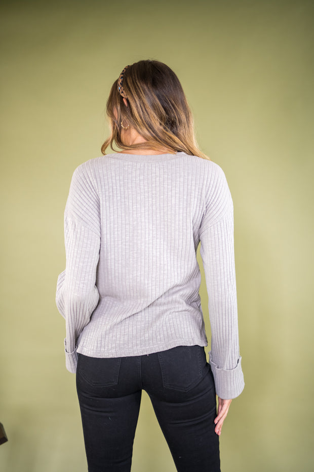 Another Reason Ribbed Knit Top Grey