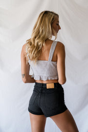 Another Try Striped Crop Top Black