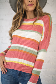 Gone Again Stripe Sweater Rose