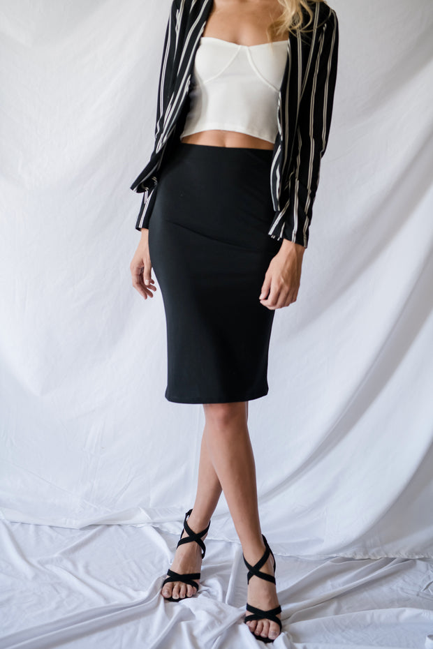 Sweetly Simple Midi Pencil Skirt Black
