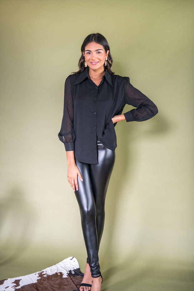 Chic Importance High Rise Leather Leggings