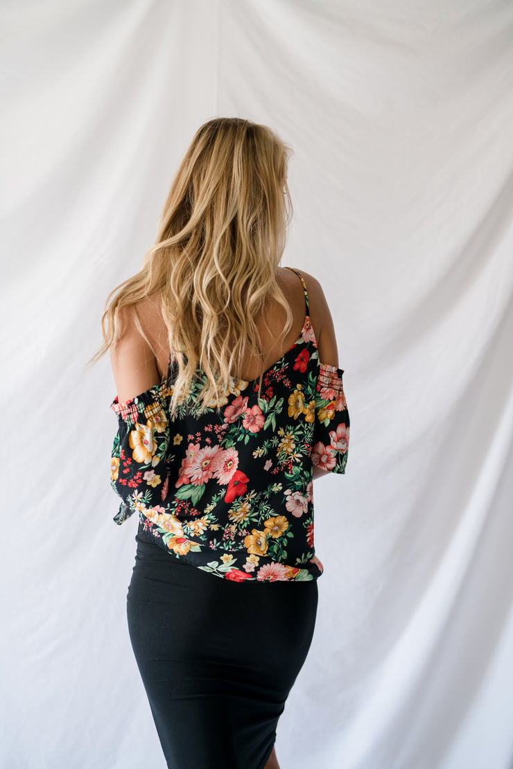 Ready Whenever Floral Top Black