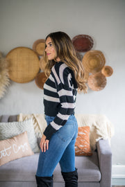 Along The Lines Striped Hooded Top