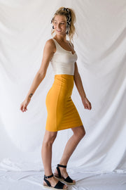 Sweetly Simple Midi Pencil Skirt Mustard