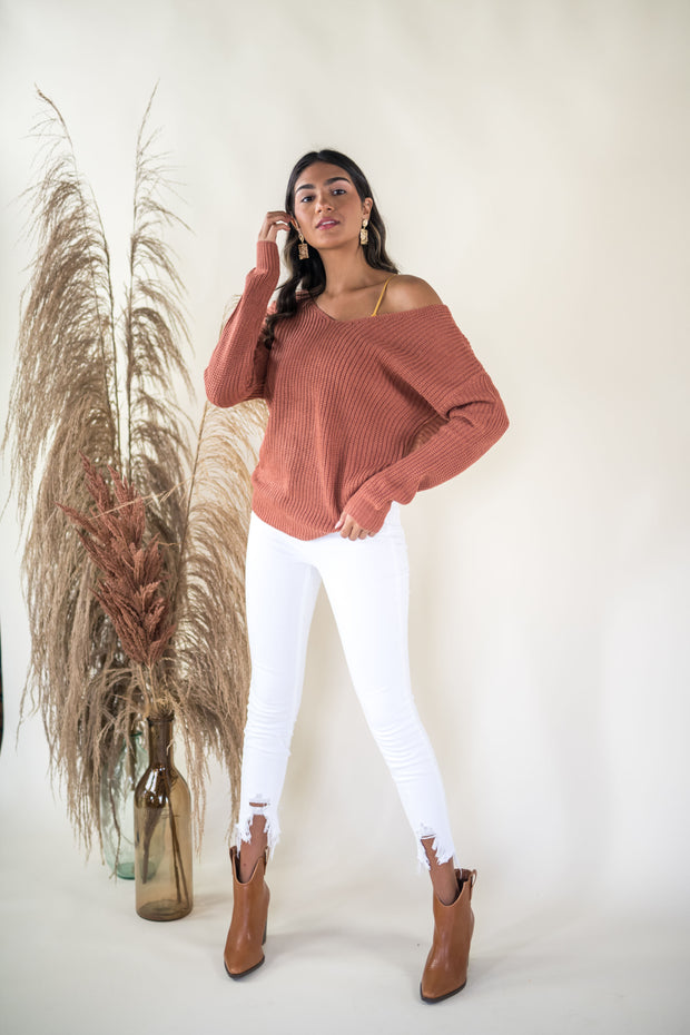 Put A Twist On It Sweater Terracotta