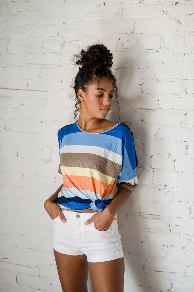 Point Taken Striped Top Blue