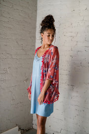 Covering Up Floral Kimono Red