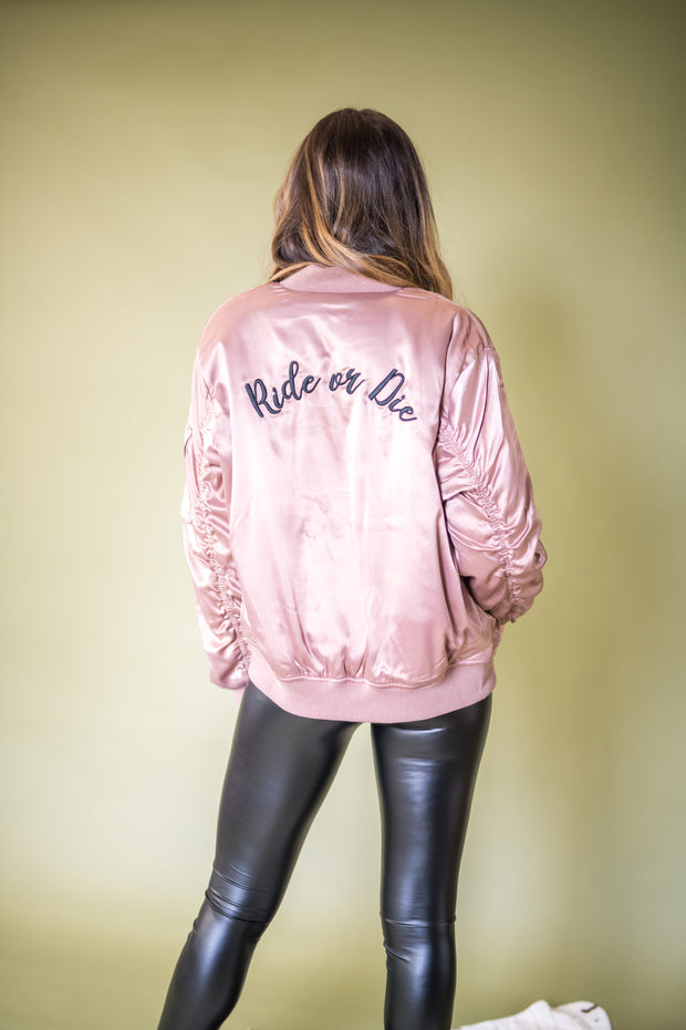 Ride or Die Bomber Jacket Blush
