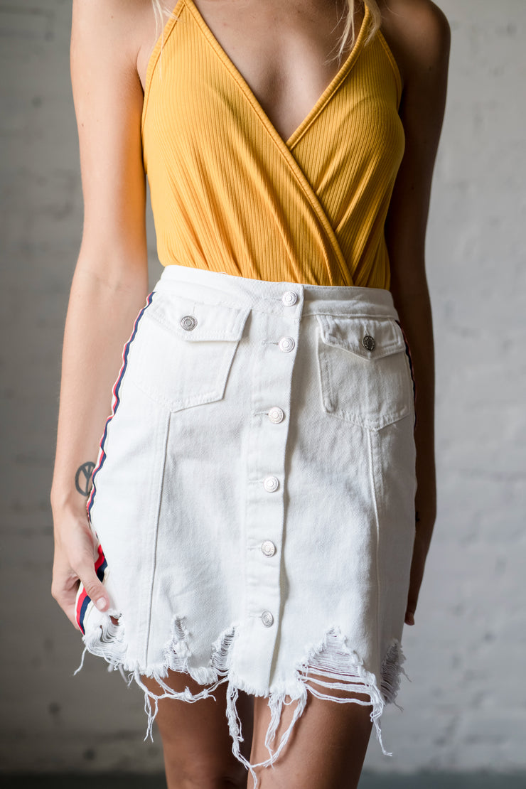 Race To The Finish Skirt White