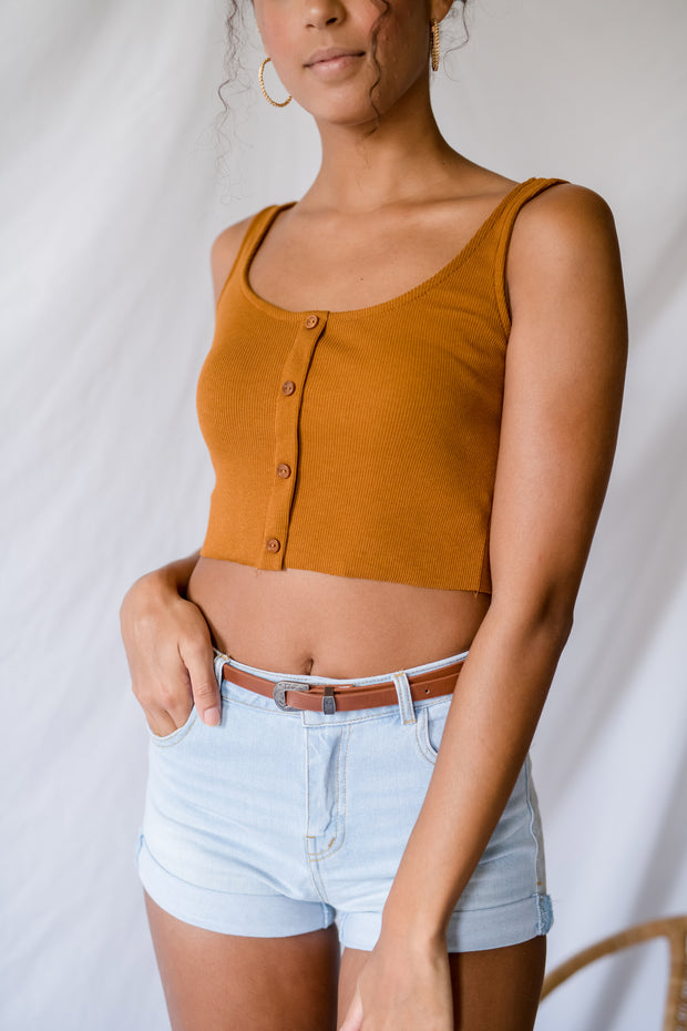 Love Of Buttons Crop Top Terracota