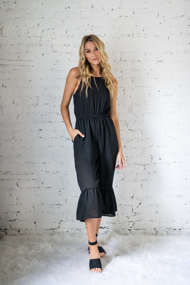 Strategic Style Cropped Jumpsuit Black