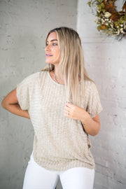 Early Mornings Ribbed Top Taupe