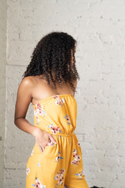 Hard To Forget Floral Jumpsuit Mustard