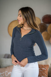Zip It Ribbed Pullover Charcoal