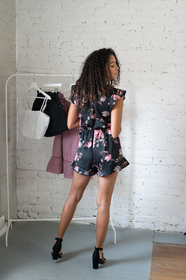 Ruffle And Flutter Floral Romper Black