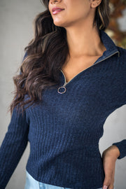 Zip It Ribbed Pullover Navy