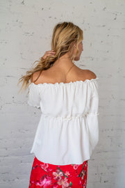 Made My Day Off The Shoulder Top White