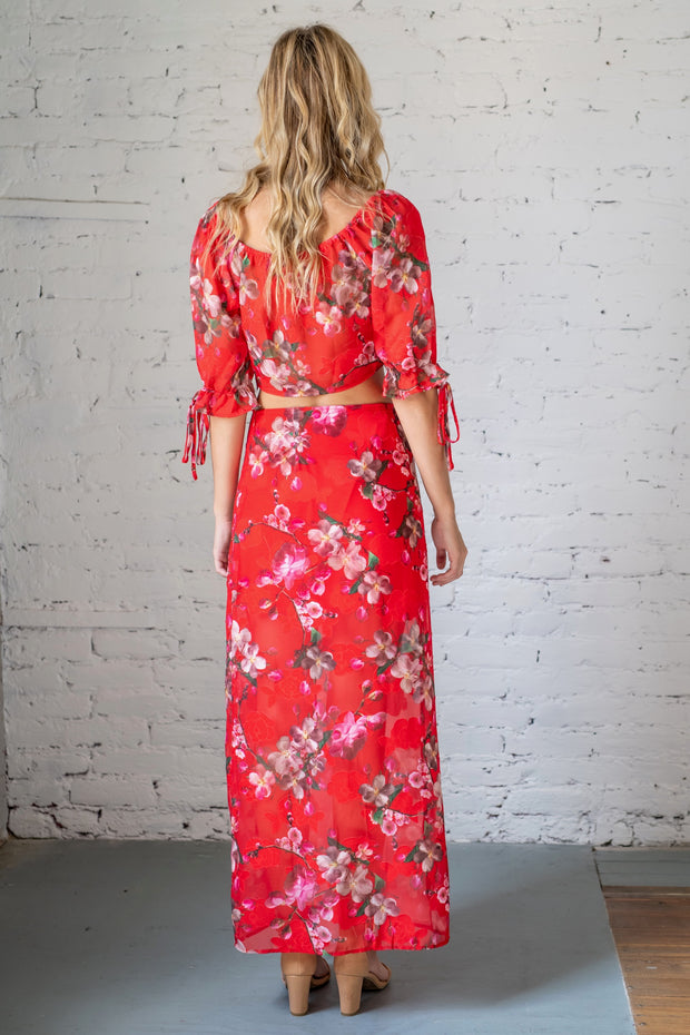 Open Air Flair Floral Maxi Skirt Red