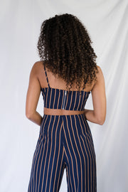 Cut To It Striped Crop Top Navy
