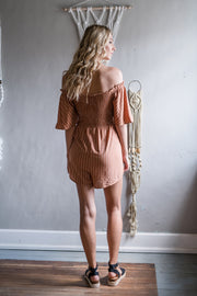 Turn You Down Striped Romper Camel