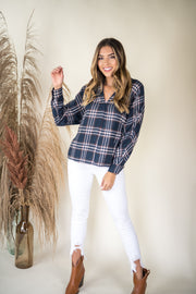 Breaking Plaid Flannel Top Navy