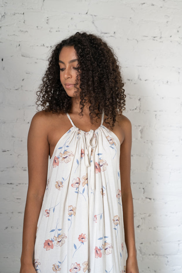 Up In The Air Floral Jumpsuit Cream