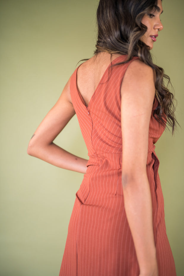High Standards Striped Dress Rust