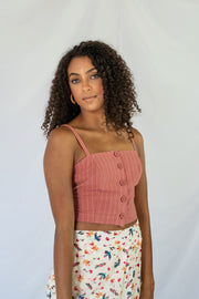 Missed Calls Striped Crop Top Brick