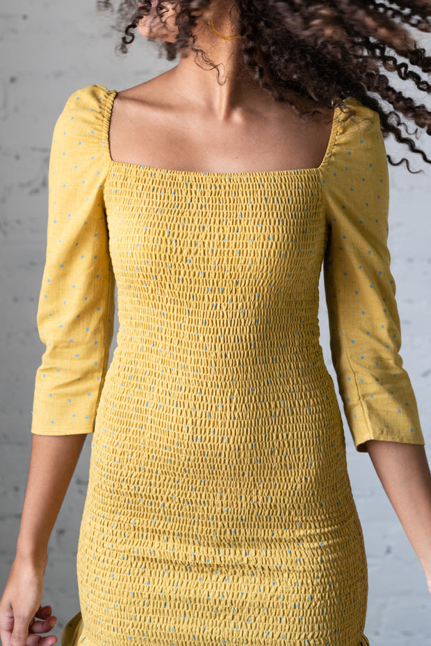 Dot Off The Press Ruched Dress Mustard