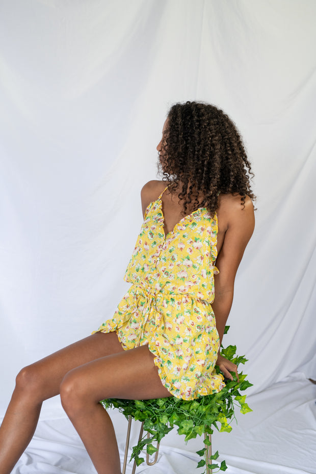 Personal Paradise Floral Romper Yellow