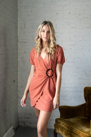 Mix It Up Wrap Dress Brick