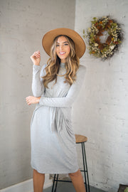 Tied Down Midi Dress Grey