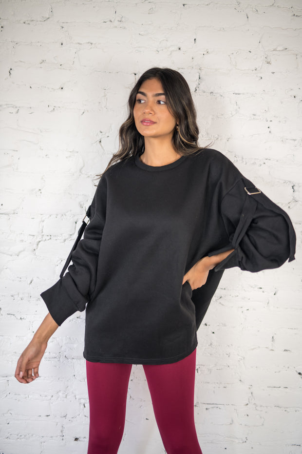 Buckled Up Oversized Sweater Black