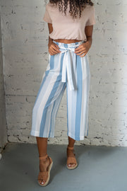 Striped And Ready Cropped Pants Blue